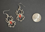 Gothic Spider with Red Stone Body Silver Pewter Earrings #952R