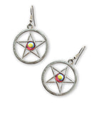 Pentacle Medieval Renaissance Earrings with Red Aurora Borealis Cabochon #954RAB