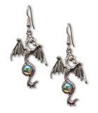 Mystical Gothic Dragon Pewter Earrings Medieval Renaissance Jewelry #955AB