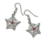 Spider Web Dangle Earrings with Red Crystals #957