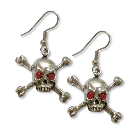 Gothic Skull and Crossbone Earrings with Red Austrian Crystal Eyes #960