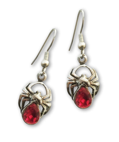 Spider Earrings with Red Austrian Crystal Body Silver Pewter #961