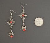 Gothic Spider Web with Hanging Spider and Red Stones Pewter Earrings #962