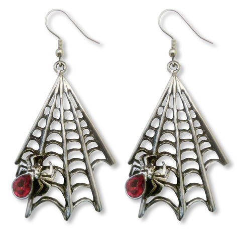 Gothic Spider on Web with Red Austrian Crystal Silver Pewter Earrings #969