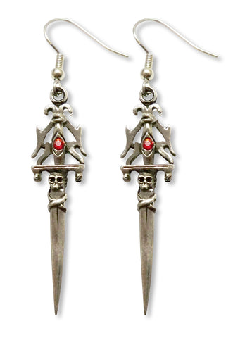 Gothic Skull Dagger Medieval Renaissance Earrings with Red Austrian Crystals #971