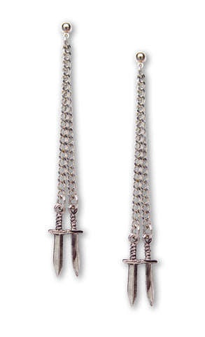 Double Chain Hanging Daggers Earrings Silver Pewter Gothic Jewelry #983
