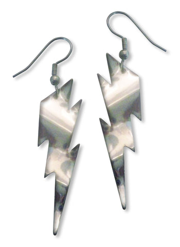Lightning Bolt Earrings Polished Silver Dangle #986
