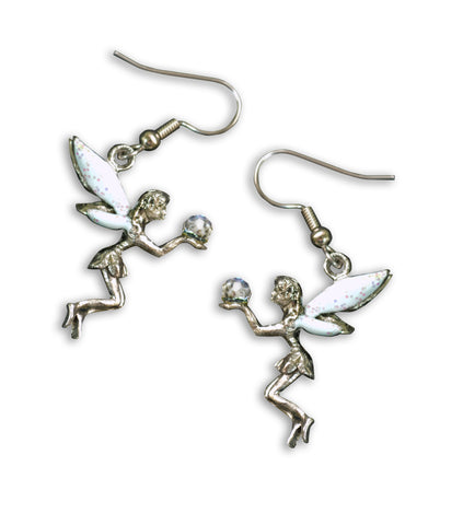 Fairy Holding Crystal Ball with Sparkling Wings Dangle Earrings #989