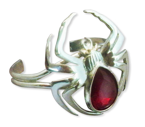 Spider Bracelet Polished Silver Pewter with Red Navette Stone B-3
