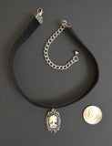 Black Velvet Choker with Lolita Cameo Ivory on Black in Silver Frame CH-1024IB