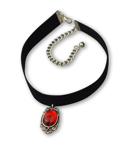Black Velvet Choker with Blood Red Cabochon in Silver Frame CH-1024R