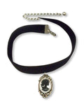 Black Velvet Choker with Gothic Lolita Cameo Black on White CH-1024