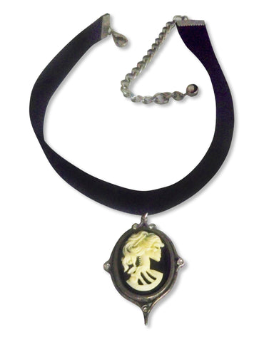 Black Velvet Choker with Gothic Lolita Cameo Ivory on Black CH-2000