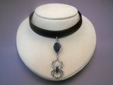 Black Velvet Choker with Teardrop Black Crystal with Hanging Spider CH-496B