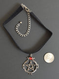 Black Velvet Choker with SIlver Pentacle and Red Cabochon CH-528