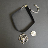 Black Velvet Choker with Baphomet in Silver Pewter CH-546