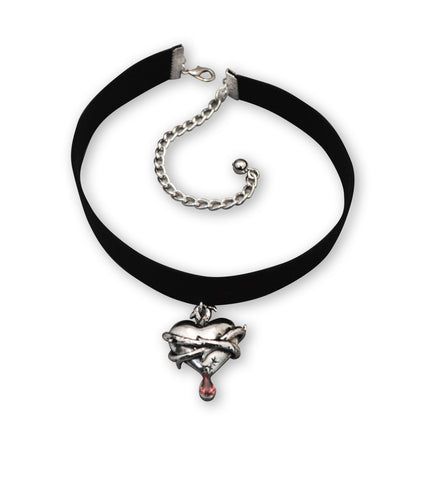 Black Velvet Choker with Bleeding Heart Wrapped in Thorns CH-556S