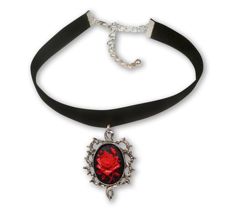 Black Velvet Choker with Red Rose Cameo Surrounded By Thorns CH-604RB