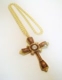 Medieval Renaissance Cross Amber Enamel with Austrian Crystals Pendant Necklace NK-10244