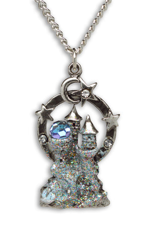 Mystical Castle with Crystals and Enamel Accents Pendant Necklace NK-119