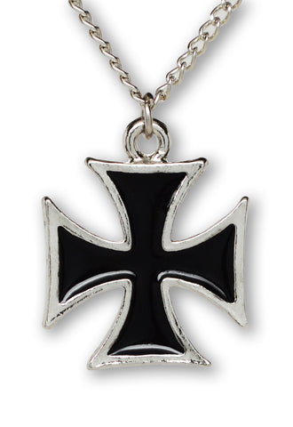 Maltese Cross Surfers Cross Silver and Black Pewter Pendant Necklace NK-1334