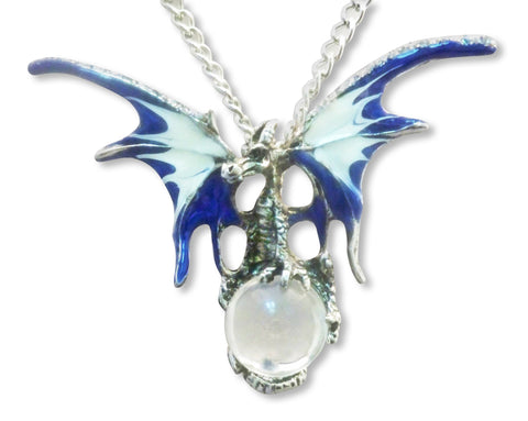 Mystical Blue Dragon with Clear Crystal Ball Pendant Necklace NK-136CL