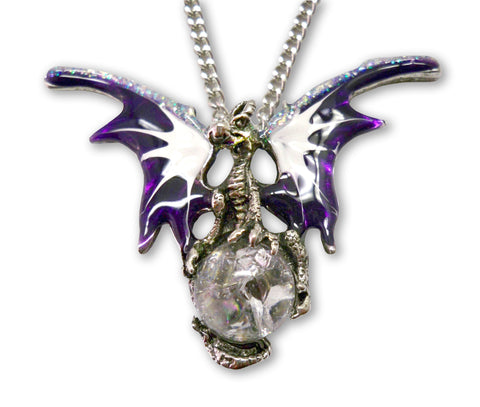 Purple Dragon with Crystal Ball Medieval Renaissance Pendant Necklace NK-136P
