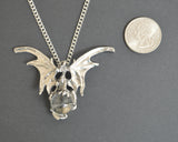 Silver Dragon with Crystal Ball Medieval Renaissance Pendant Necklace NK-136S