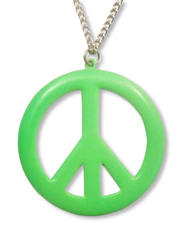 Large Peace Sign Neon Lime Green Enamel Finish Pewter Pendant Necklace NK-15-G