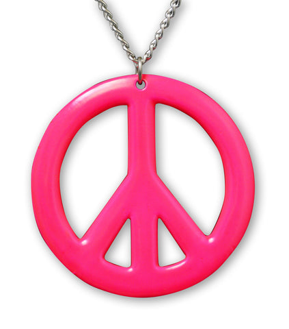Large Peace Sign Neon Hot Pink Enamel Finish Pewter Pendant Necklace NK-15-P