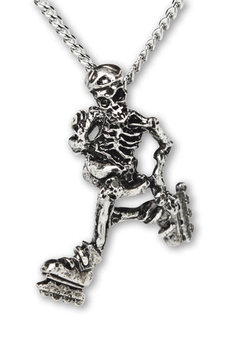 Gothic Skeleton Cruising on In-line Skates Pewter Pendant Necklace NK-155