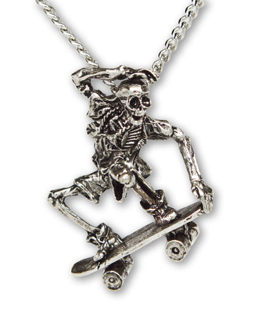 Urban Skeleton in Nose Grab on Skateboard Silver Pewter Pendant Necklace NK-156