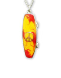 Skateboard with Peace Sign Red & Orange Enamel Pewter Pendant Neckace NK-157-5