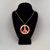 Orange Pink Hippie Tie Dye Peace Sign Enamel on Pewter Pendant Necklace