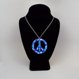 Purple Blue Hippie Tie Dye Peace Sign Enamel on Pewter Pendant Necklace