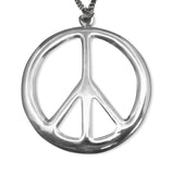Large Peace Sign Polished Silver Pewter Pendant Necklace NK-15