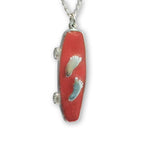Skateboard with Silver Barefeet Red Enamel on Pewter Pendant Necklace NK-160-7