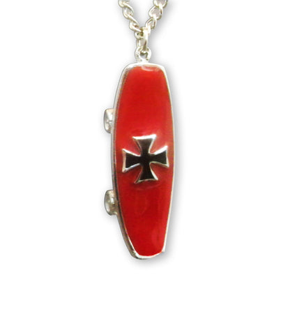 Skateboard with Maltese Cross Enamel On Pewter Pendant Necklace NK-161-7