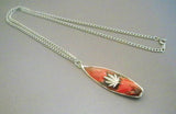 Surfboard with Marijuana Leaf Red & Black Enamel on Pewter Pendant Necklace NK-164-11