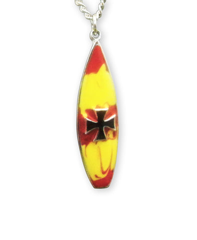 Surfboard with Maltese Cross Red & Yellow Enamel on Pewter Pendant Necklace NK-166-6
