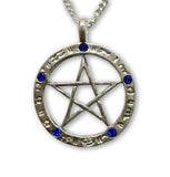 Gothic Pentacle in Zodiac with Blue Crystals Pendant Necklace NK-169