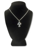 Mushroom with Peace Sign and Black Enamel Accent Silver Pewter Pendant Necklace NK-172