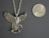 Patriotic American Eagle in Flight Silver Pewter Pendant Necklace NK-20