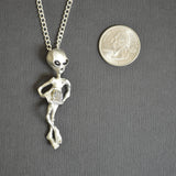 Alien Holding Faceted Crystal Ball Silver Pewter Pendant Necklace NK-247