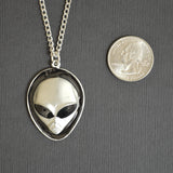 Alien Head with Black Enamel Accents Pewter Pendant Necklace NK-249B