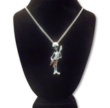 Alien Playing Guitar with Enamel Accents Pendant Necklace NK-256