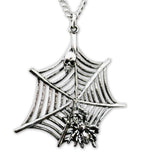 Spider and Skull on Web Silver Pewter Pendant Necklace NK-359