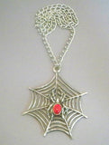 Gothic Spider on Web with Red Cabochon Extra Large Silver Pendant Necklace NK-362LC