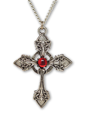 Gothic Cross with Red Stone Medieval Renaissance Pendant Necklace NK-366