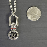 Demon Skull and Pentacle Medieval Renaissance Pendant Necklace NK-372